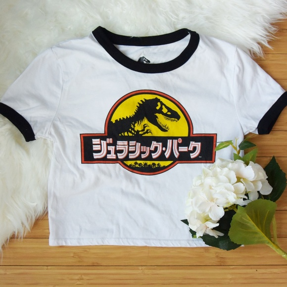 Forever 21 Japanese Jurassic Park White Crop Top